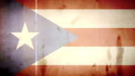 The Puerto Rican Flag - Grungy Old Film Loop