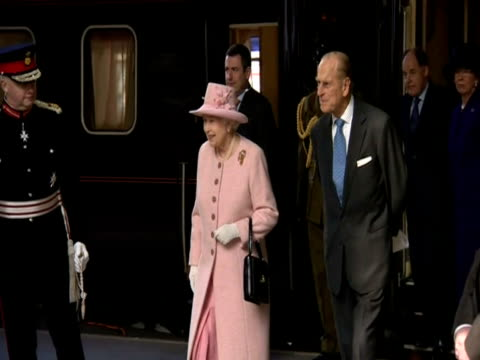 The Queen and Duke of Edinburgh arrive at Manchester Victoria Station
