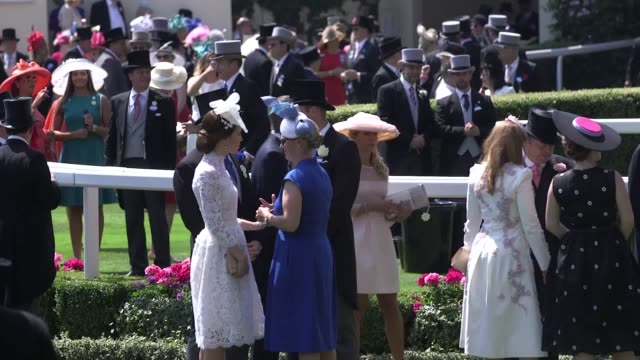 The Queen and Duke of Edinburgh in the parade ring at Royal Ascot on 20 June 2017 in the company of family members including the Duke and Duchess of...