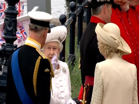 The Queen with Prince Charles and The Duchess of Cornwall at the Diamond Jubilee celebrations
