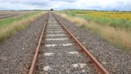 The railway tracks leading from the Serbian frontier are seen on July 16 2016 in Roszke Hungary Last summer thousands of refugees and migrants were...