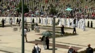 The relatives of 127 people who died during the Srebrenica Massacre mourn at Potocari Memorial Center in Patacori Bosnia and Herzegovina on July 11...