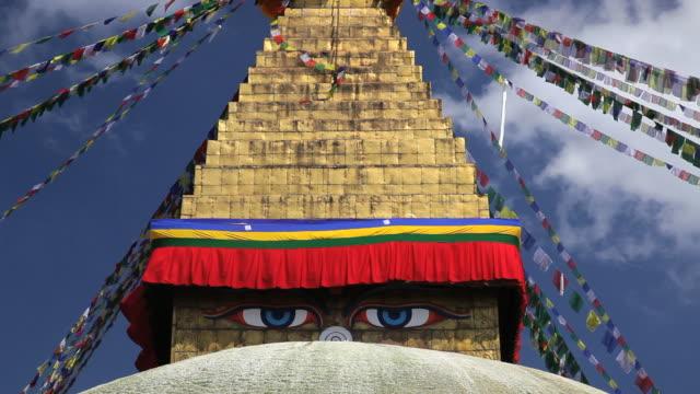 The religious Boudhanath Stupa a place of holy Buddhist worship, Kathmandu, Nepal, Asia