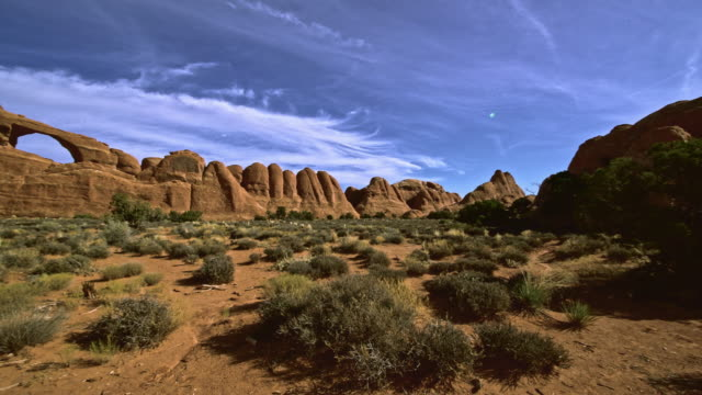 The remote view to the Skyline arch. Devils Garden, Arches national park, Utah.