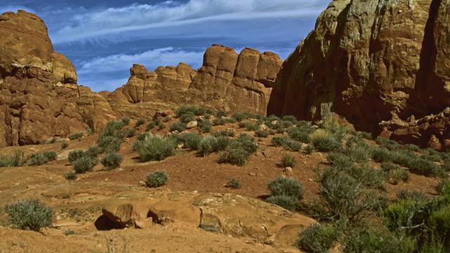 De externe weergave de Skyline boog. Devils Garden, Arches Nationaal park, Utah.