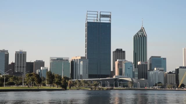 The residential skyline of Perth looking across the water towards Fremantle is shot at the ferry terminal in the central business district CBD of...