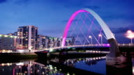 The River Clyde Arc Bridge at Dusk, Glasgow, Scotland