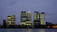 The River Thames and London's Canary Wharf financial district.