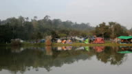 the river with camping