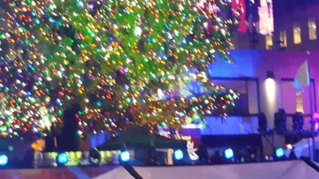 The Rockefeller Center 2015 Tree Lighting Ceremony in New York attended by mayor Bill de Blasio