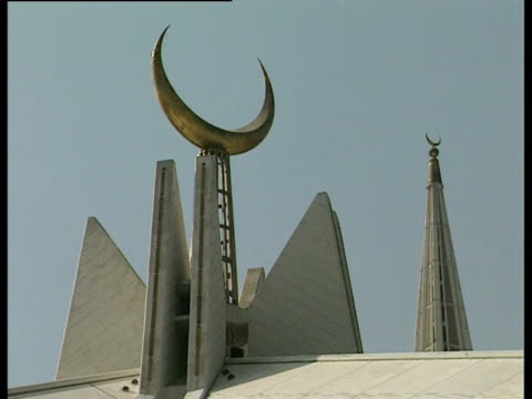 The roof of the Faisal Mosque in Islamabad