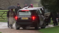 The Royal family arriving at Sandringham Church for New Years Day service with the Queen absent due to a cold