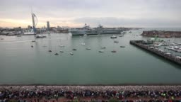 Naval Aircraft Carrier HMS Queen Elizabeth Arrives Home To Portsmouth