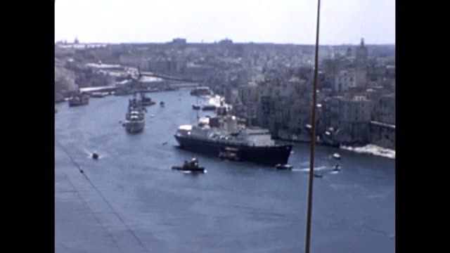 The Royal Yacht Brittania together with a flotilla of ships including the Arc Royal aircraft carrier in Grand Harbour Malta This was the maiden...