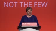 The shadow foreign secretary Emily Thornberry addresses the Labour Party Conference in Brighton In her speech she tells the Prime Minister to 'step...
