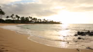 The shoreline of Kauai at sunset on the island of Kauai.