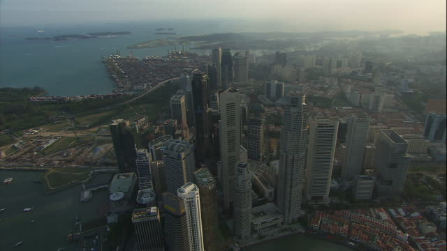 The Singapore skyline is seen from the air.