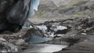 The snout of the Solheimajokull glacier on the Myrdalsjokull ice cap in Iceland. It was melting rapidly due to climate change, but is now melting even faster after the eruption of Eyjafjallajokull covered it in black ash, meaning that it absorbs more of th