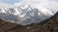 The snow and glacier covered Andean peak of Huayna Potosi in Bolivia.