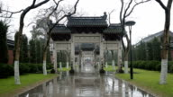 The snowscape of memorial archways in Temple of King Qians,Hangzhou,Zhejiang,China