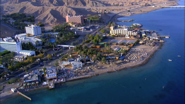 AERIAL the south beach and Hotels in the Red Sea ,Gulf of Eilat, Israel