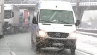 The southeastern French city of Saint Etienne wakes up to a thick layer of snow the first of the season blocking traffic and hampering transport in...