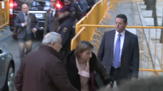 The speaker of the Catalan parliament arrives to appear before a Spanish court accused of sedition for declaring independence after a union strike...
