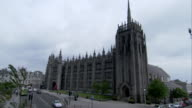 The spire of Greyfriar's Church on the corner of Marischal College in Aberdeen, Scotland. Available in HD.