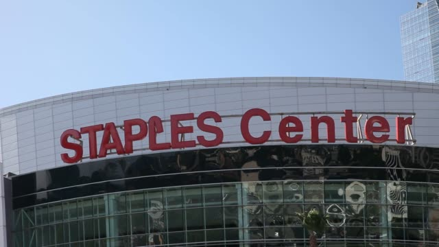The Staples Center at LA Live in downtown Los Angeles California US Exterior wideshots of the Staples Center in Los Angeles California on a sunny day...