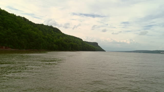 The static scenic view to the Palisades Interstate Park over the Hudson River. Aerial drone video.