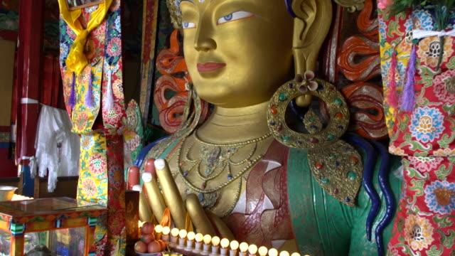 The statue of Maitreya inside Thiksay Monastery, Ladakh, India