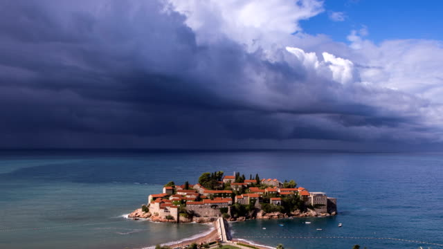 The Storm is coming to Sveti Stefan island