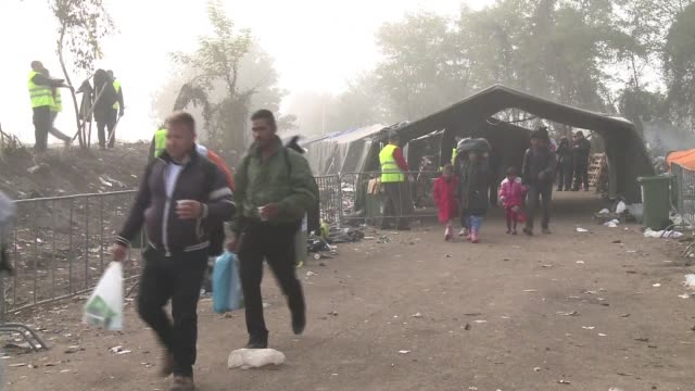 The stream of migrants passing through the border between Serbia and Croatia at the Berkasovo border point seems to have slowed with fewer people...