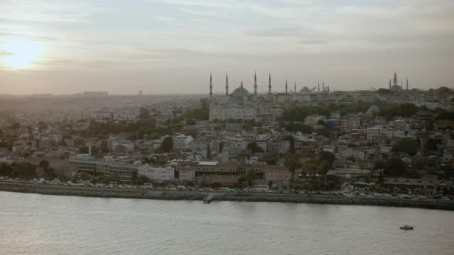 AERIAL The Sultan Ahmet Mosque at Sultanahmet Square overlooking the Bosphorus Strait / Istanbul, Turkey