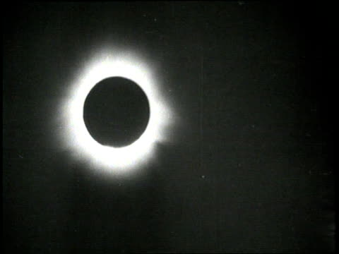 The sun's corona appears as a white halo during an eclipse