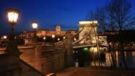 The Szecheni Lanchid Suspension bridge ( Chain Bridge ), over the river Danube between Buda & Pest cities, Budapest City, Hungary.