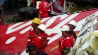 The tail of the AirAsia plane that crashed into the Java Sea a fortnight ago is brought to land as Indonesian divers find the black box flight...