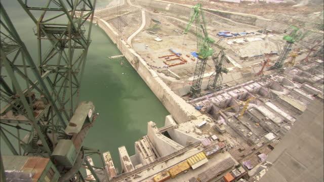 The Three Gorges Dam undergoes construction.