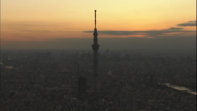 The Tokyo Sky Tree rises above Tokyo against a gray and pink sky in Japan.