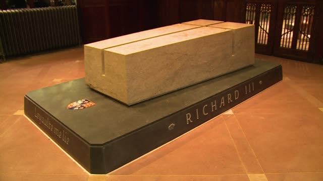 The tomb of Englands slain king Richard III exhumed from an undignified grave beneath a car park was revealed on Friday in Leicester Cathedral where...