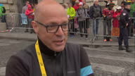 The Tour de France to finish in Paris with Chris Froome wearing the yellow jersey Shows exterior shots interview with Sir David Brailsford talking...