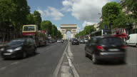 The Tour de France to finish in Paris with Chris Froome wearing the yellow jersey Shows exterior shots the Arc de Triomphe in the distance traffic on...