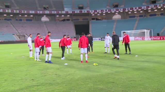 The Tunisian national football team prepares to face Libya in a World Cup qualifying match