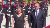 The Turkish Foreign Minister Mevlut Cavusoglu on an official tour in Latin America meets with the Argentine Foreign Minister Susana Malcorra in...