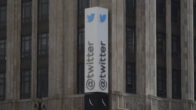 'The Twitter Inc logo and signage is displayed on the facade of the company's headquarters in San Francisco California corporate headquarters people...