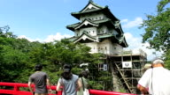 The twohundredyear old tower of Hirosaki Castle in Aomori Prefecture at the northern tip of Japan's Honshu main island was jacked up on Sunday August...
