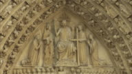 The Tympanum of the Last Judgment adorns the entrance of Notre Dame de Paris, France.