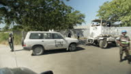 The UN trucks roll through the streets of Haiti after the January 2010 earthquake