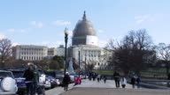 The United States Capitol building while under construction Wide shot