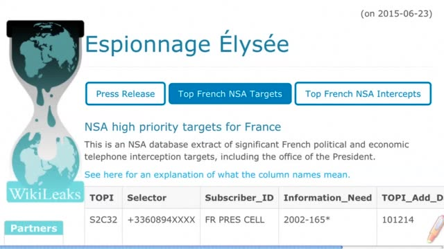 The United States wiretapped three French presidents including current leader Francois Hollande documents released online by WikiLeaks